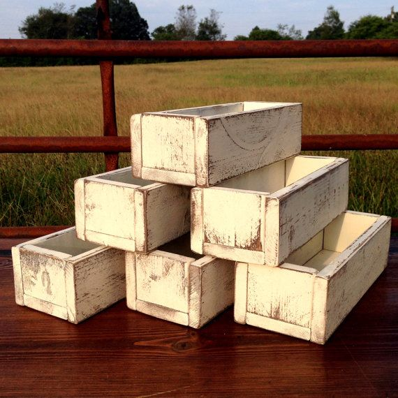 Wedding Centerpiece - Set of 6 - Planter Box - Distressed Wood Box - Barn Wedding - Farmhouse Wedding - Decor on Etsy by Rustic Modern Farmhouse