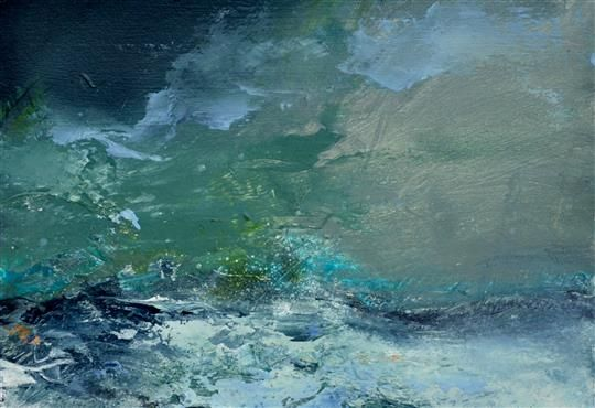 "GRUTNESS FISHING STATION SHETLAND II, OIL ON PAPER, 11"" X 15"" (28CM X 38CM) Janette Kerr Cadogan Contemporary"
