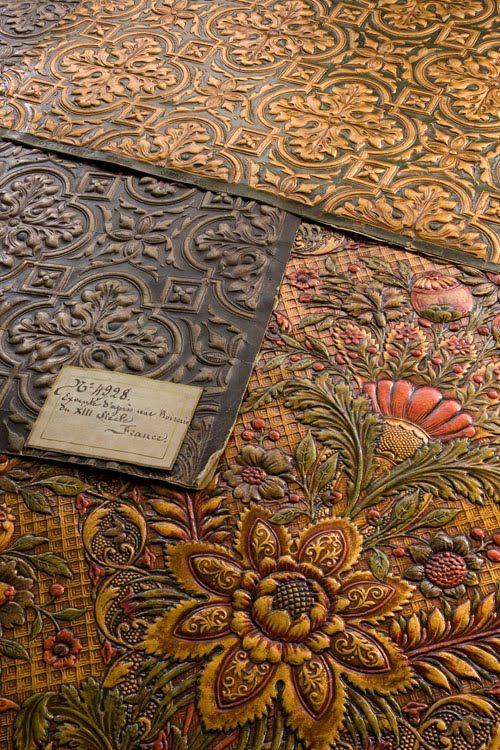 Sanderson embossed leather wallpaper