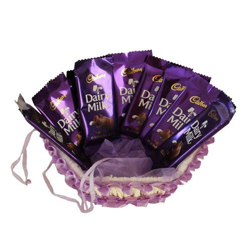 ::Dairy Milk Chocolate Hamper ::  Brand Name: SFU E Com Let your beloved know that your heart does not function properly without her with a sweet token of love from SurpriseForU. Get a pretty basket hamper of 10 Pcs #Dairy_Milk_Chocolate 14 Gms. To make the deal more romantic, Make her/his day special with a basket full of sweet love.  #chocolatehamper #sweet #gifts # #FreeDelivery #Amazon #Ahmedabad #AmazonIndia #India