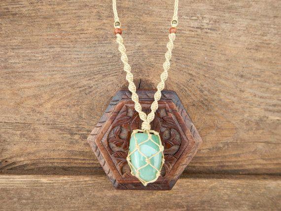 Healing Aventurine Stone, Macrame Wrapped Necklace.