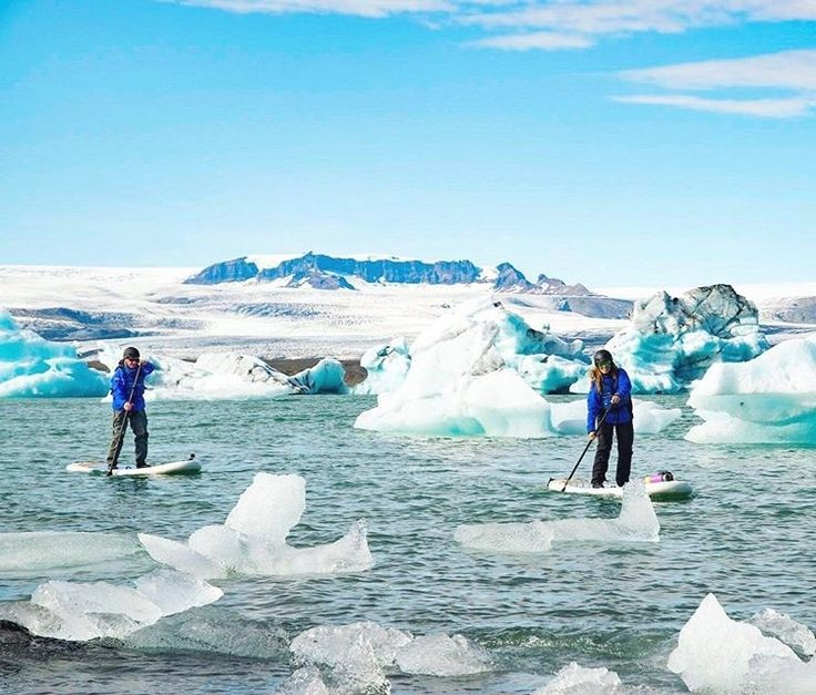 """Since 2017 is coming to an end soon, we thought we would share a few of our favorite moments from this year over the next couple of weeks. Paddleboarding around giant chunks of ice in this famous glacier lagoon in Iceland was definitely one of those moments we will never forget. Even though we are experienced paddlers and were wearing dry suits, there was that moment of hesitation and surge of adrenaline that accompanied the thought, ""What if we fall in?""😰 (And in case you wondered, .."