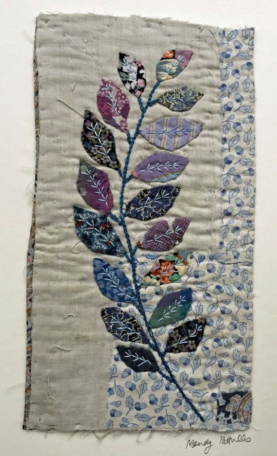 Unframed appliqued picture on to old piece of by MandyPattullo