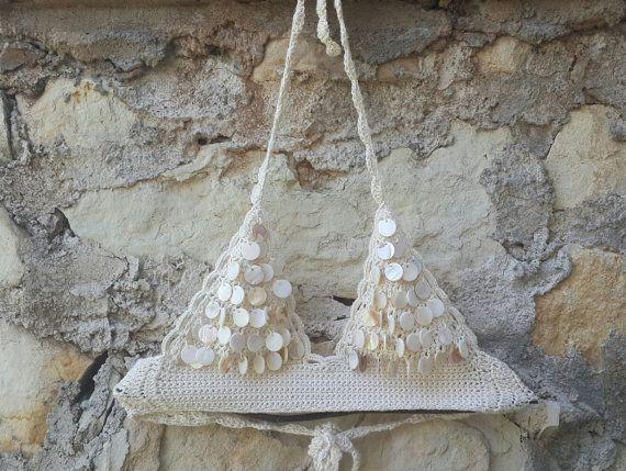 Sea Shell Sequin Crochet Bikini Ivory Beachwear by byrosali