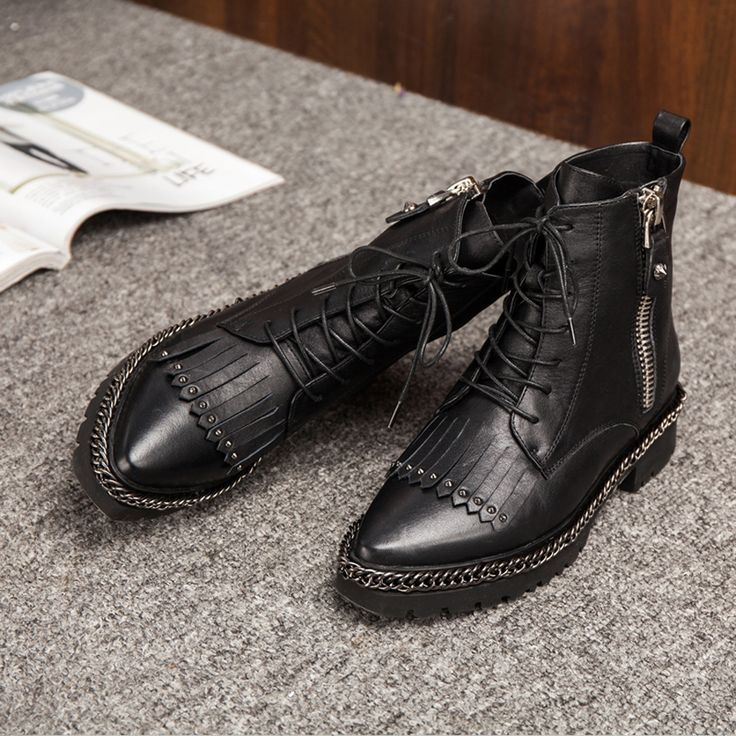 Cheap boot wedges, Buy Quality boots for toddler girls directly from China boots flower Suppliers: Genuine Leather women boots fashion Rivets Tassel Metal Martin boots Pointed Toe Motorcycle boots Square heel winter ankle boots