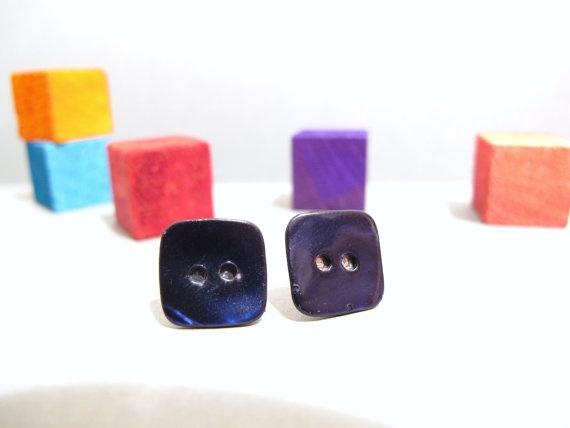 Blue shell button earrings