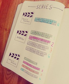 TV Series tracker layout/idea for your Bullet Journal (BuJo). Bullet Journal Tracker, Bullet Journal Inspo, Planner Bullet Journal, Bullet Journal Tv Series, Bullet Journal Netflix, Wreck This Journal, My Journal, Journal Pages, Journal Ideas