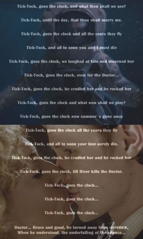 "Okay guys, I just realized ""Tick tock until the day that thou shalt marry me"". Time stopped the day River married the Doctor. Time. Stopped. They. Got. Married. This is ridiculous."