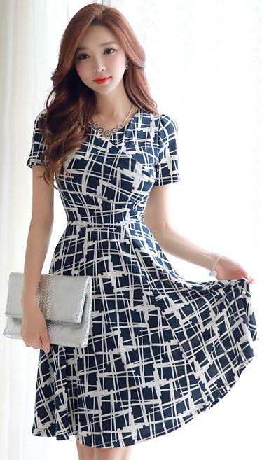 StyleOnme_Cross Patterned Wrap Style Flared Dress #cross #pattern #dress #elegant #koreanfashion #kstyle #kfashion #summerlook #dress