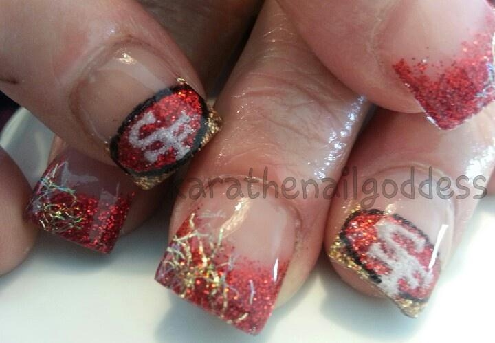 Acrylic nail art, football, 49ers   Football Nail Art   Pinterest