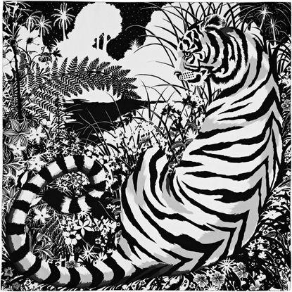 Cashmere Silk Scarf - Tiger of the jungle by VIDA VIDA KtmlJQdE