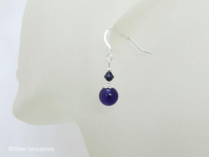 Dark Purple Amethyst, Swarovski Crystals & Sterling Silver Short Drop Earrings from Silver Sensations. These pretty handmade deep purple Amethyst earrings are so elegantly feminine & easy to wear. - £8.20 + P & P