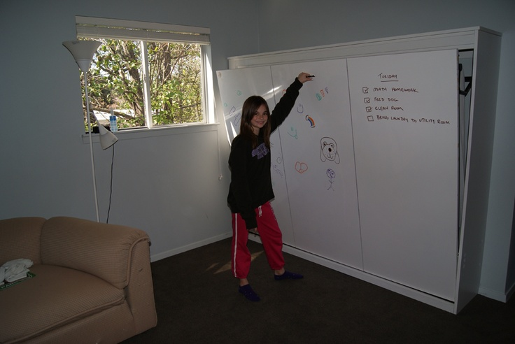 Kids Side Tilt Murphy Bed With White Board On The Front