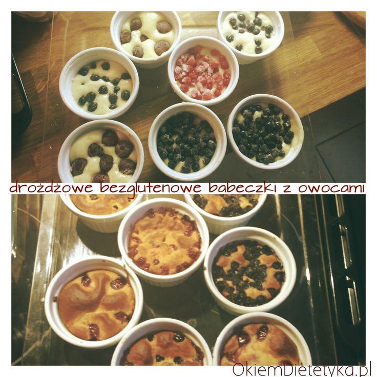 Drożdżowe bezglutenowe babeczki z owocami- smak lata zimą. Składniki: - pół szklanki mąki ryżowej - pół szklanki mąki ziemniaczanej - ¼ szklanki mąki kukurydzianej - 5 łyżek oleju rzepakowego + trochę...