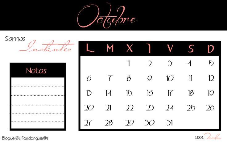 Calendario Octubre 2014 (Iniciativa Bloguer@s Fandanguer@s) para descargarlo aquí: http://1001tardes.blogspot.com.es/2014/09/calendario-octubre-2014-bloguers.html