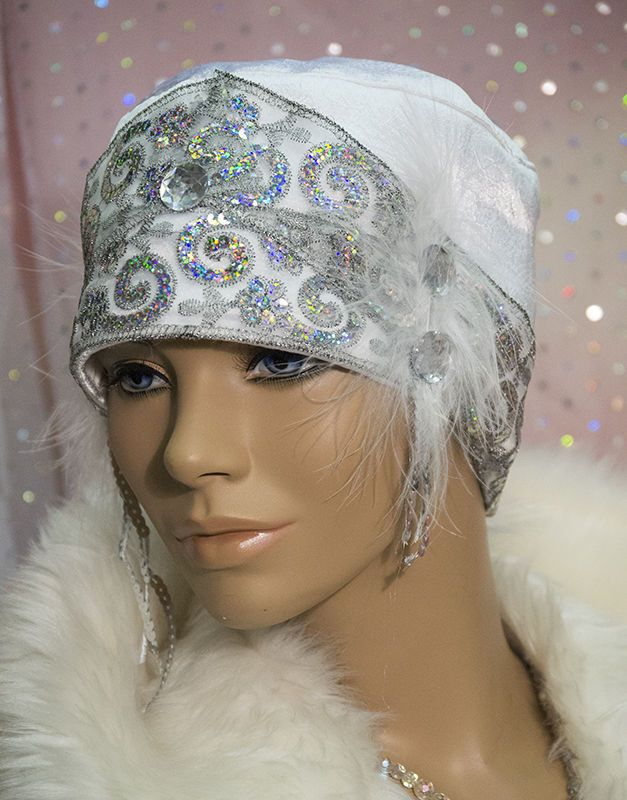1920s DOWNTON ABBEY VINTAGE INSPIRED WHITE  CLOCHE HAT GATSBY FLAPPER