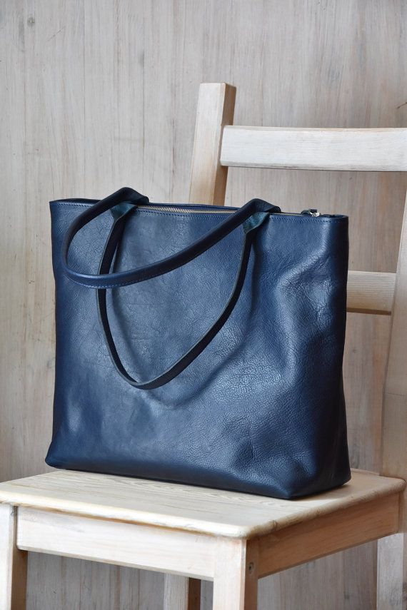 Large Top Zip Navy Blue Leather Tote  MIA Handmade by toshibags