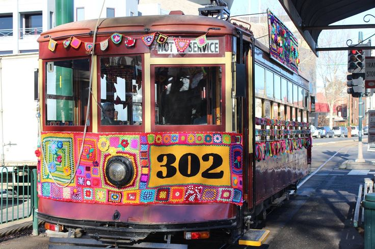 The yarnbombed 302 tram in Bendigo.....inside and out a feast of crochet and knitting!!