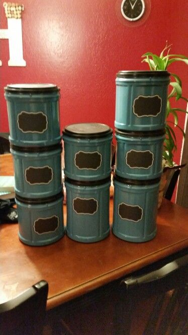 Diy office storage from Folgers coffee containers  ●1 can of Valspar spray paint from Lowe's  ●Martha Stewart chalkboard labels from Staples