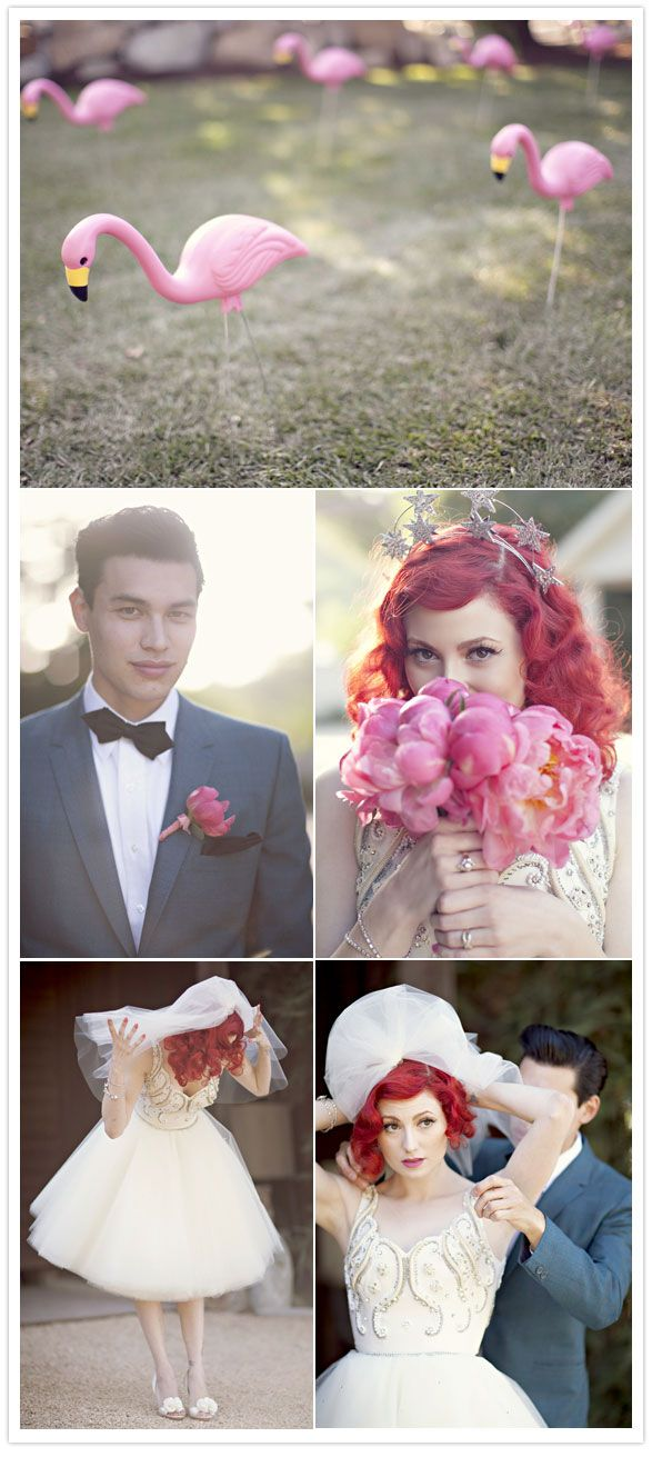 Absolutely beautiful wedding pictures! 1950s wedding style with quirky details such as the Lawn Flamingoes is delicious.