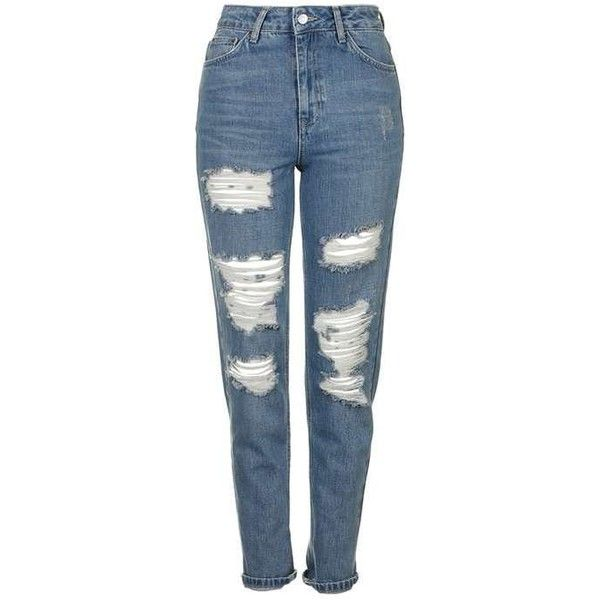 TopShop Moto Blue Super Rip Mom Jeans (250 BRL) ❤ liked on Polyvore featuring jeans, pants, topshop, bottoms, mom jeans, high waisted distressed jeans, high waisted jeans, ripped jeans, folded jeans and high rise jeans
