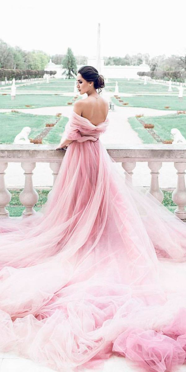 24 Colorful Wedding Dresses For Non-Traditional Bride ❤ colourful wedding dresses purple off the shoulder a line open back with train samarova m ❤ See more: http://www.weddingforward.com/colourful-wedding-dresses/ #weddingforward #wedding #bride