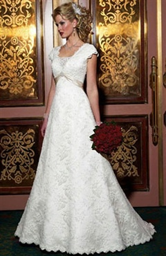 Cap Sleeve A-line V-neck Sweep/ Brush Train Wedding Gowns