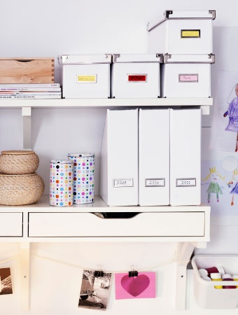 Magazine files, boxes and drawer units like these help keep your work stuff organized and easy to find.