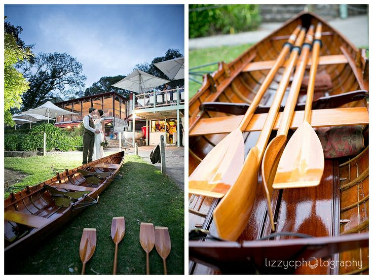 Row Row Row Your Boat: Jen &  Stu's Waterfront Wedding at Studley Park Boathouse, Kew.  Jen arrived in a boat made by her Dad.  Thanks Lizzy C for the gorgeous photo!