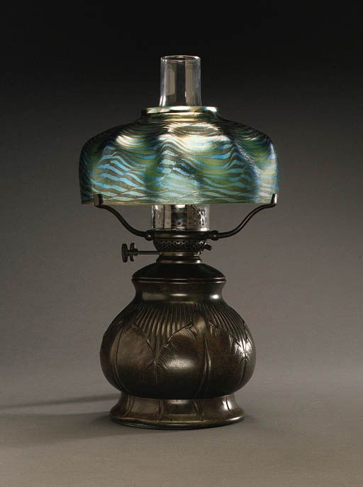 A FAVRILE GLASS AND BRONZE TABLE LAMP Tiffany Studios The
