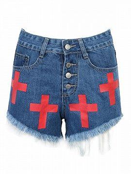 Pantalones Cortos Vaqueros Deshilachados Con Boton Delantero Y Parche Cruzado Rojos