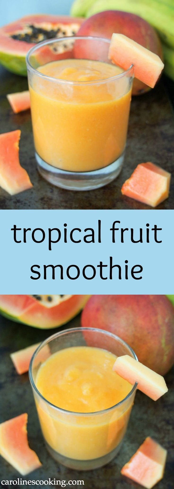 This tropical fruit smoothie is made with mango and papaya for a refreshing, tasty and vitamin-C packed drink. Made just with fruit and fruit juice, with an optional boost from flax seeds, it's also naturally dairy free. Delicious and good for you all in one. #smoothie #dairyfree