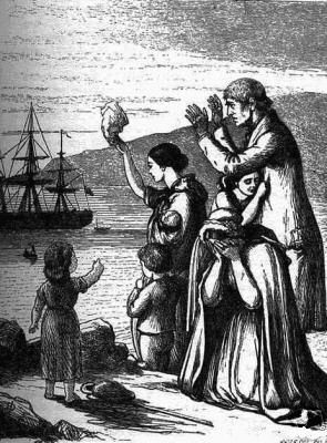 Emigrants Leave Ireland engraving by Henry Doyle depicting the emigration to America following the Great Famine in Ireland.