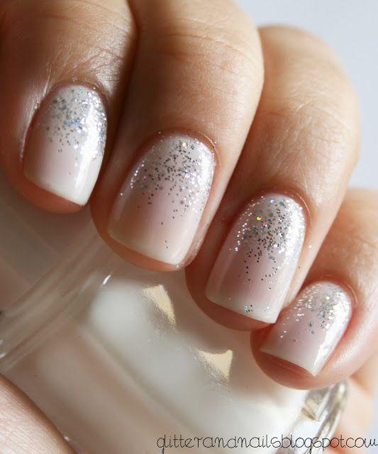 Soft pretty glitter nails.