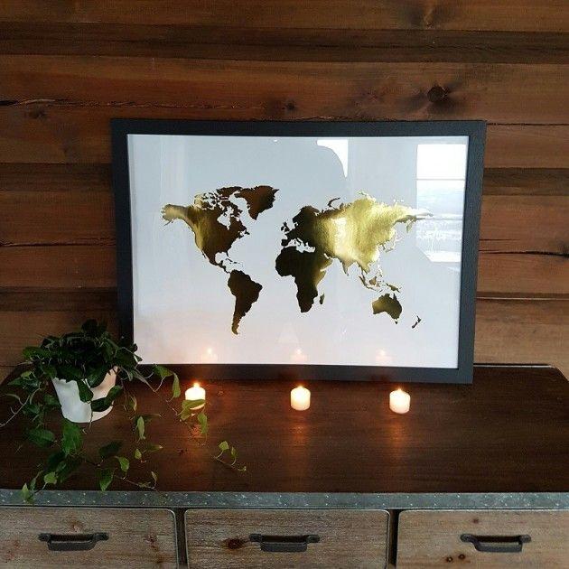 Bilde m/verdenskart gull | Landlig interiør- Interiør nettbutikk til hus og hytte