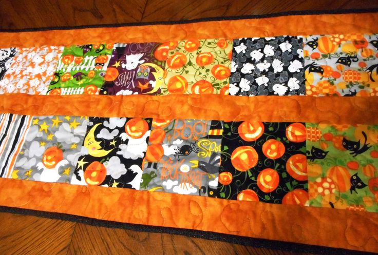 Quilted Halloween Table Runner October Owl Hostess Gift