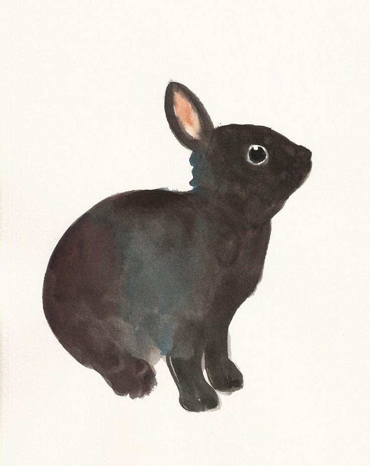 BUNNY by DIMDI Original watercolor painting 8x10inch. $25.00, via Etsy.