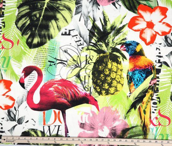 One Yard Braemore Pineapple Flamingo Art Collage Fuchsia Tropical Home Decor Fabric High Fashion Jamil Upholstery Banana Leaf Fabric Dgkf