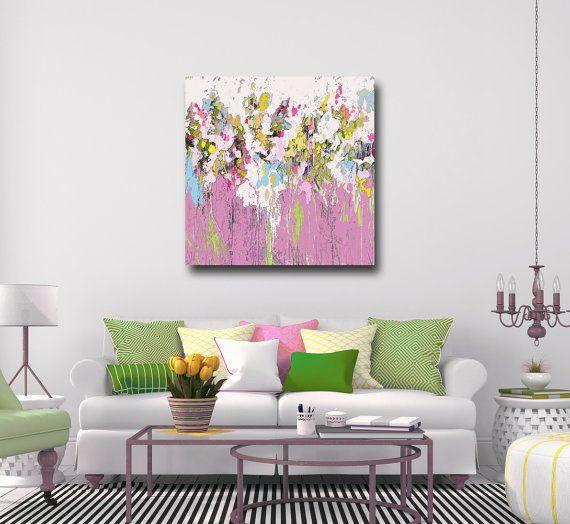 Arte della parete grande tela stampa astratta rosa da