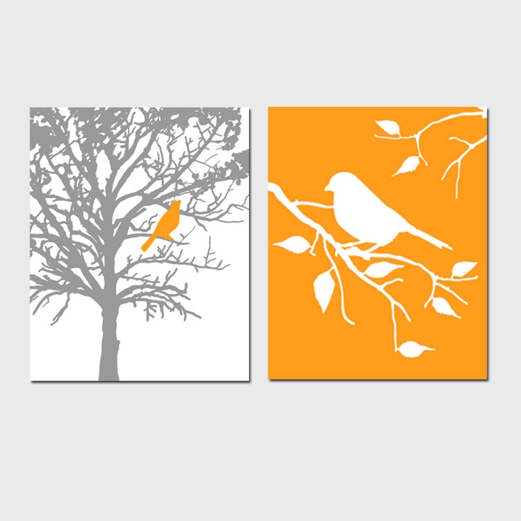 Set of two 8x10 prints birds and trees bathroom for Bathroom design ideas 8x10