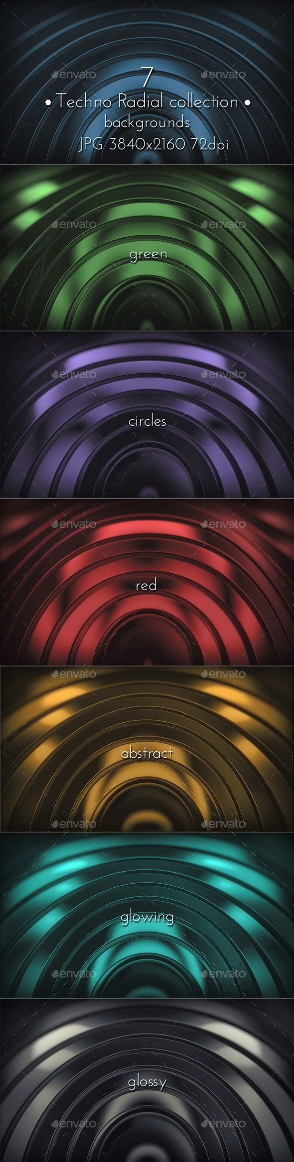 Modern Radial Techno Glossy Surface 3D Backgrounds. 7 JPG images, 3840×2160, 72 DPI.
