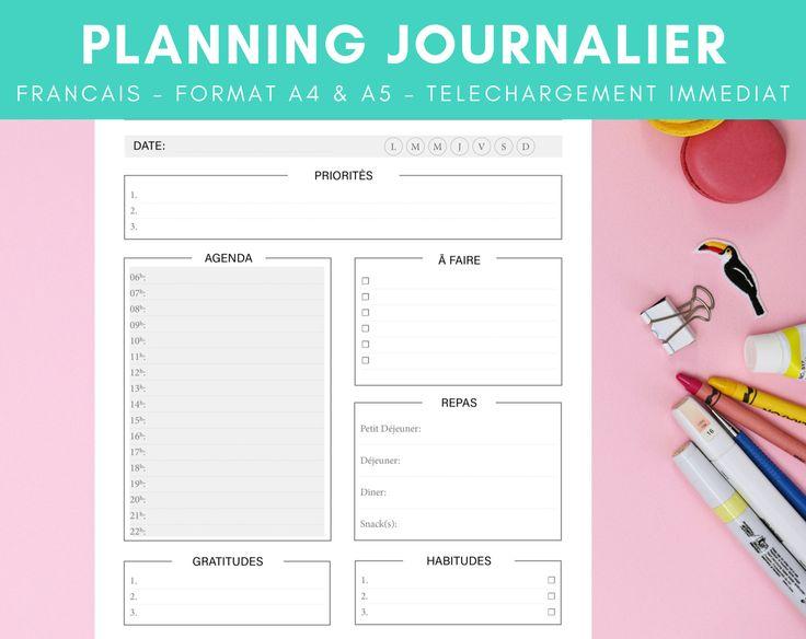 PLANNING JOURNALIER | FRANCAIS | Gris | Modèle à Imprimer ...