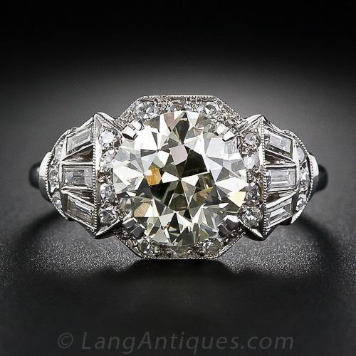 3.00 Carat Light Yellow Art Deco Diamond Ring, European-cut center stone, circa 1930s. Lang Antiques.  (=)