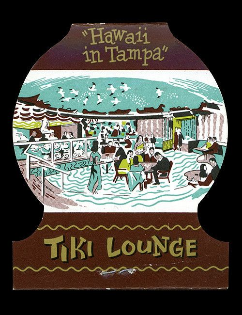 1960's matchcover, back cover with view of tiki lounge matchcover from Hawaiian Village - Tampa, Florida