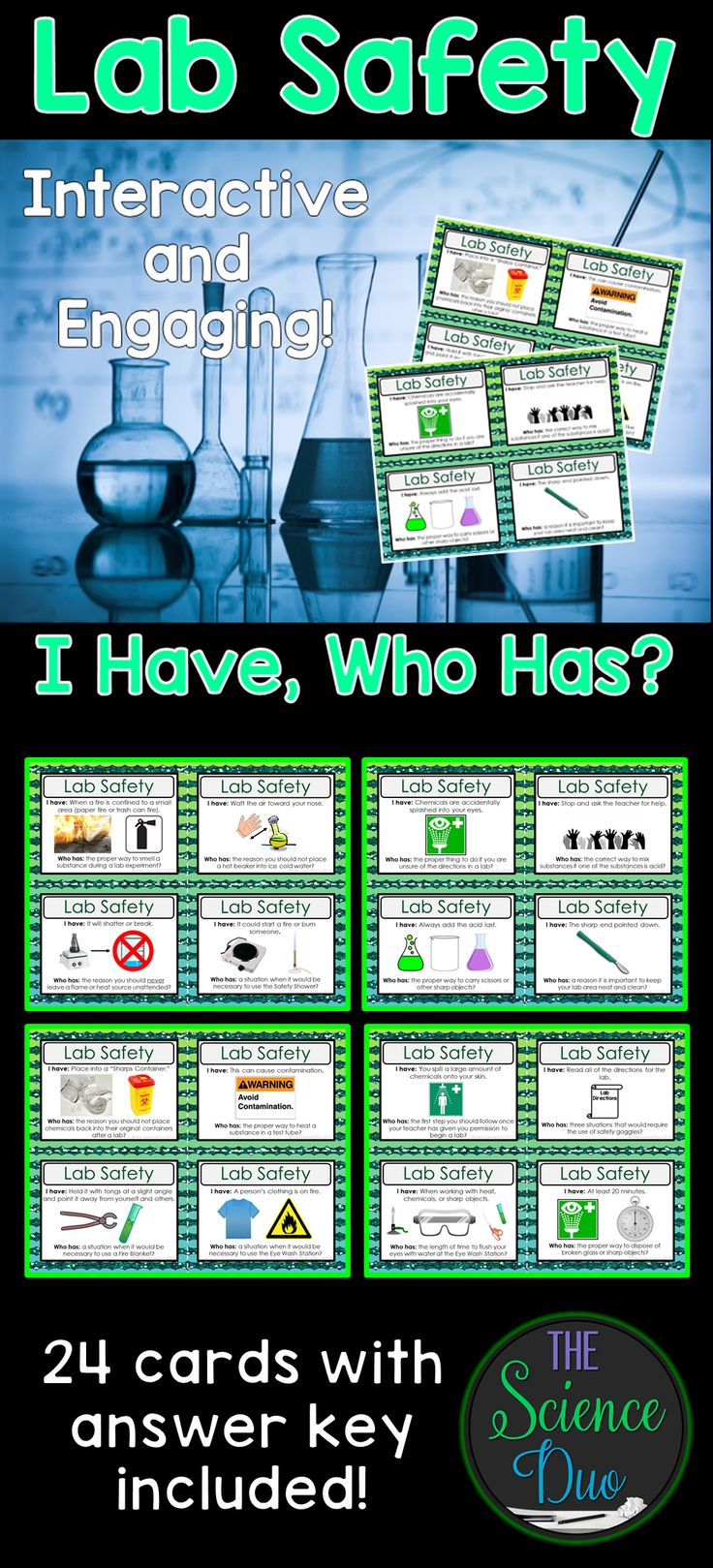 """Science Lab Safety """"I Have, Who Has"""" Activity.  This activity includes 24 unique """"I Have, Who Has"""" statements. Use this with your entire class as review to get all of your students to participate."""