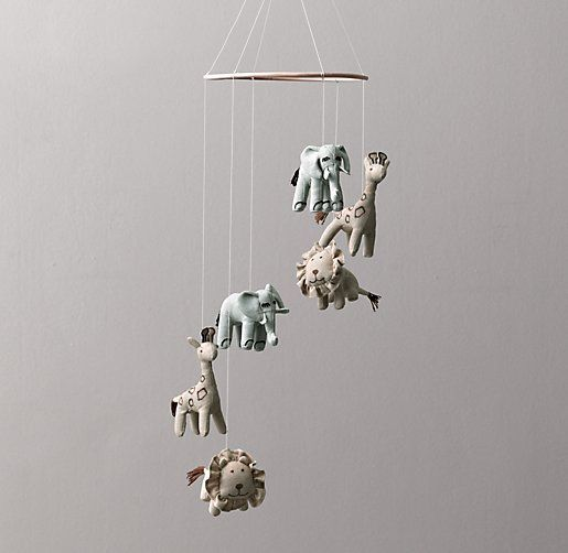 RH baby&child's Chambray Animal Mobile:This sweet mobile is an assembly of our lovable chambray characters – elephant, lion and giraffe – suspended on natural-colored string around a wood ring.