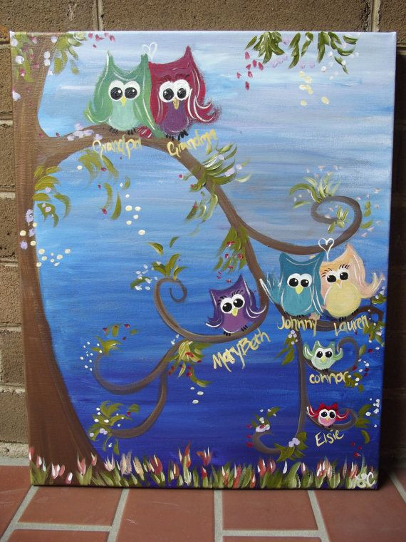 "Custom ""Owl Family Tree"" Painting"