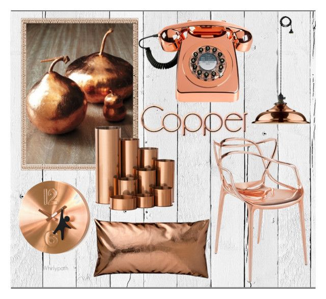 Copper Decor! by whirlypath on Polyvore featuring interior, interiors, interior design, home, home decor, interior decorating, Kartell, NLXL, Wild & Wolf and WALL