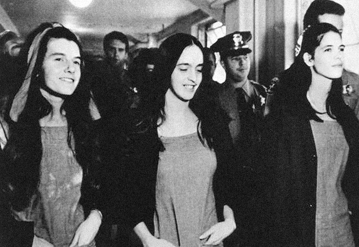 January 25, 1971: Charles Manson, Patricia Krenwinkel, Susan Atkins and Leslie Van Houten are found guilty of the 1969 Tate-LaBianca murders in Los Angeles. Photo: Krenwinkel, Atkins, and Van Houten...