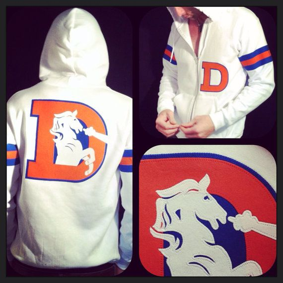 Denver Broncos hoodie WHITE The Throwback Varsity by FrozenKiss
